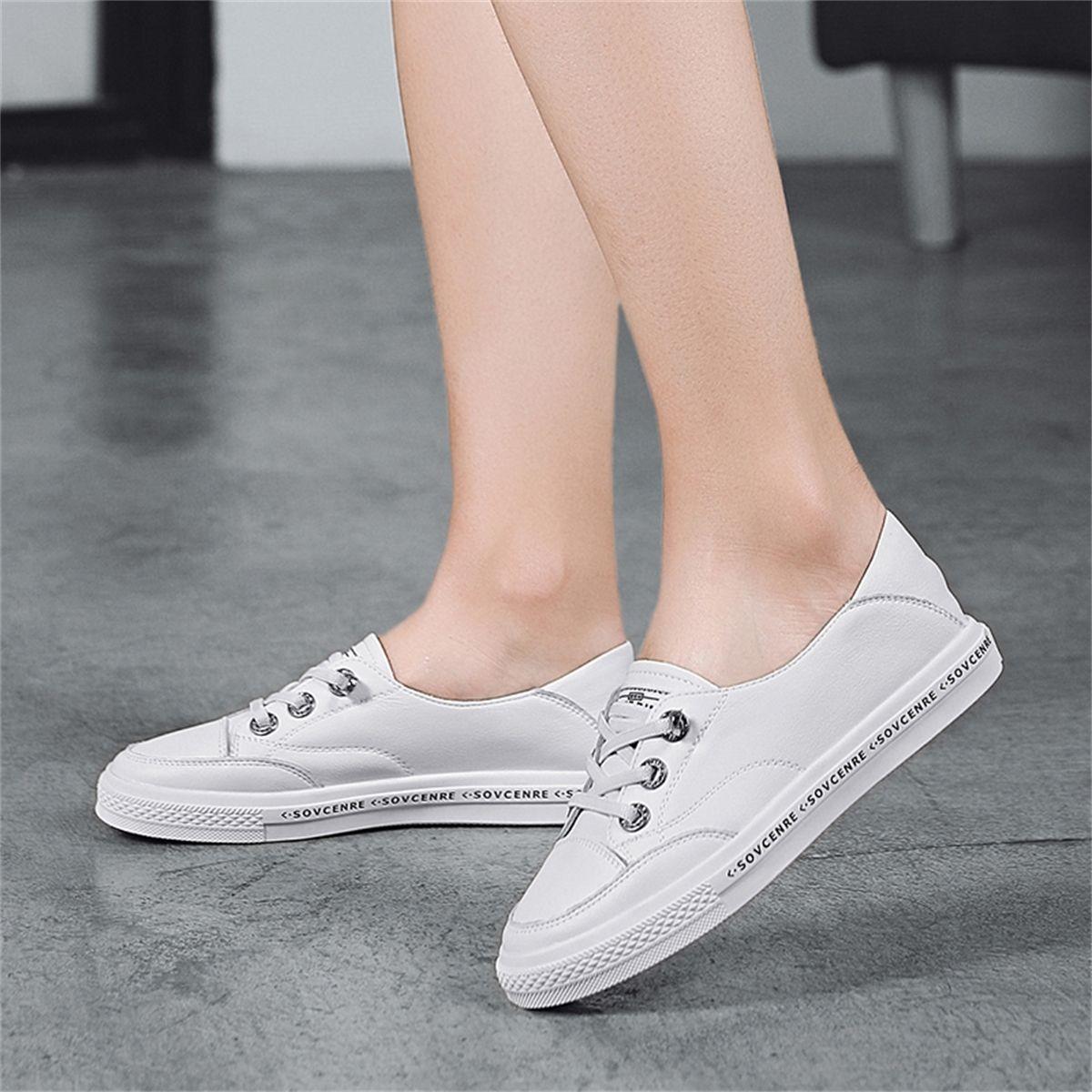 Moda donna Vulcanizzazione classica in vera pelle in vera pelle all'aperto donne casual scarpe bianche scarpe da ginnastica 201128