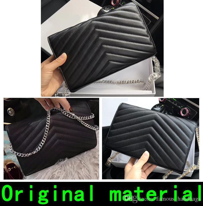 Bolsas de couro real de alta qualidade bolsa bolsas Ouro Prata Cadeia pele de carneiro Couro Carteira Bolsa vêm com caixa