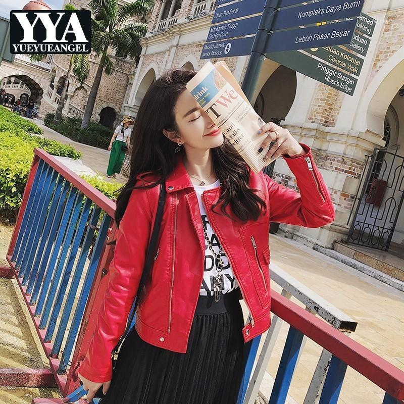 Мода черный красный мотоцикл кожаные куртки женские отворы тонкий подходящий на молнии короткие пальто женские уличные одежды качество искусственная кожаная куртка1
