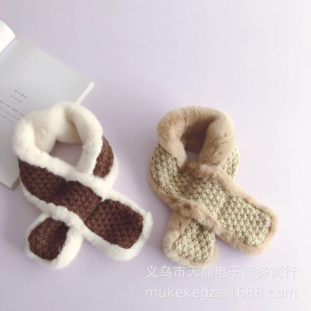 Cross Korean personalized knitted plush stitching scarf children's autumn and winter soft baby color matching collar