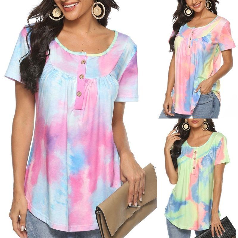 2021 Nova Moda Mulheres Casuais Tie-Dye Imprimir O-pescoço Mangas Curtas T-shirt Tshirt Tops Harajuku Top Tees Feminino Camisetas Mujer