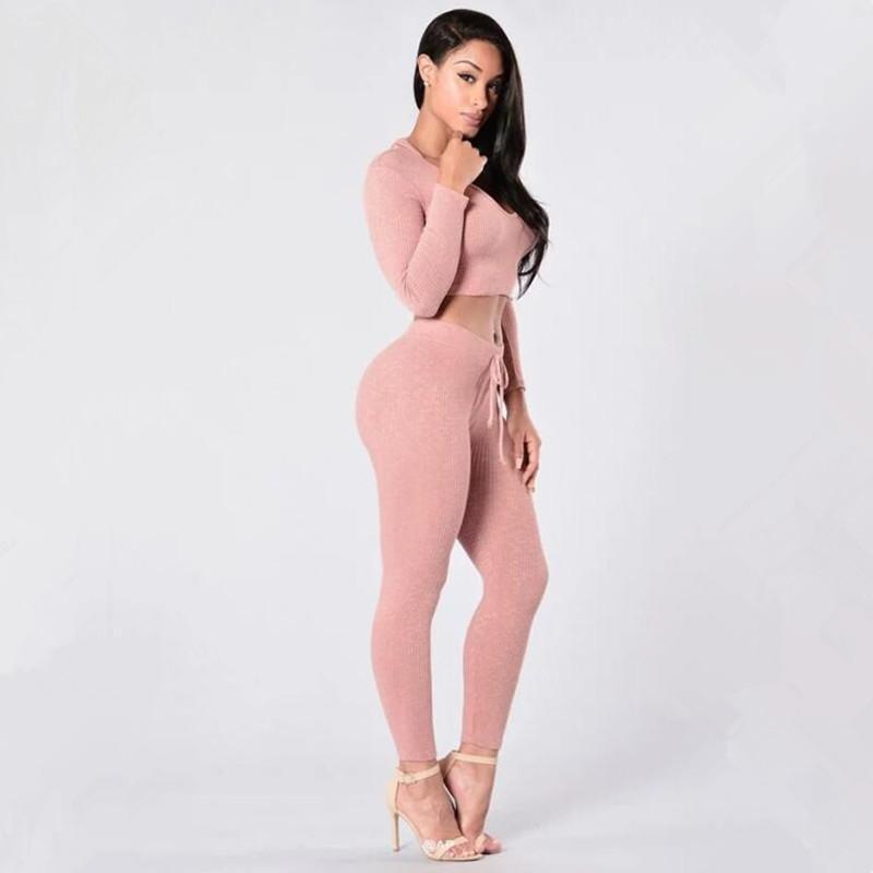Женщины Scestsuits Новая тенденция с капюшоном с капюшоном с капюшоном розовая сексуальная вязать хлопчатобумажные толстовки наборы короткие вершины и длинные брюки эластичные тонкие стринструи спортивные