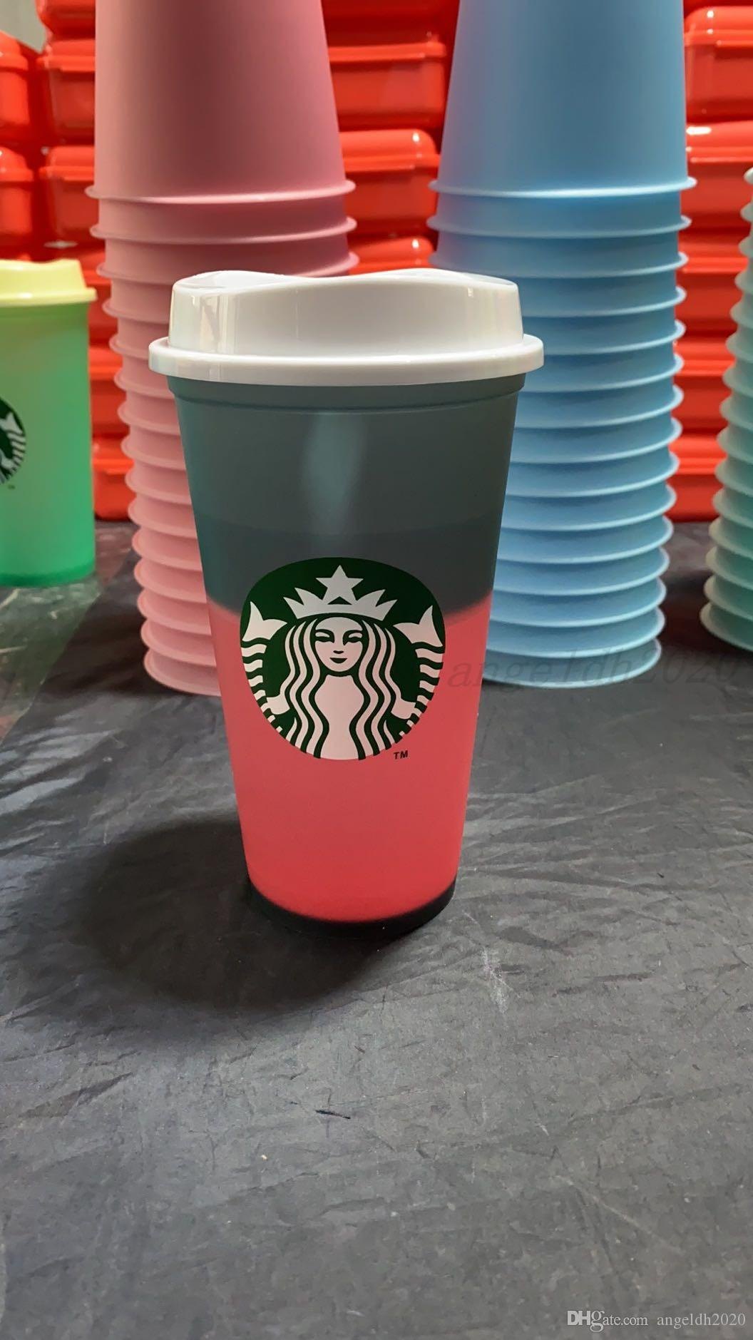 Starbucks 24 Unzen Farbwechsel Tumbler Kunststoff Trinksaft Cup mit LiP Magie Kaffeetasse Costom Kostenloser Versand