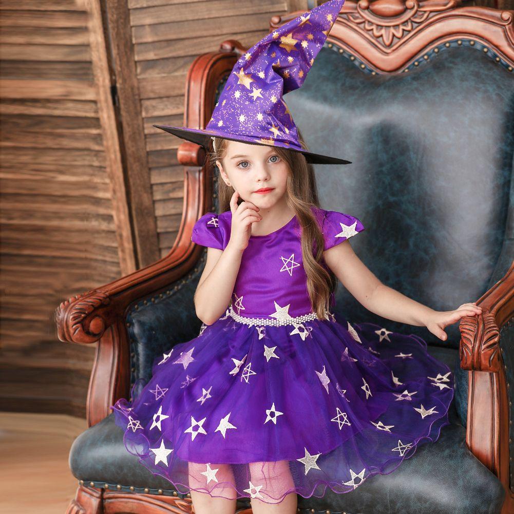 Vestito da manifestazione dei bambini di stile europeo e americano per bambini per la ragazza costume da strega per vestito da maglia a stella di Halloween per la ragazza