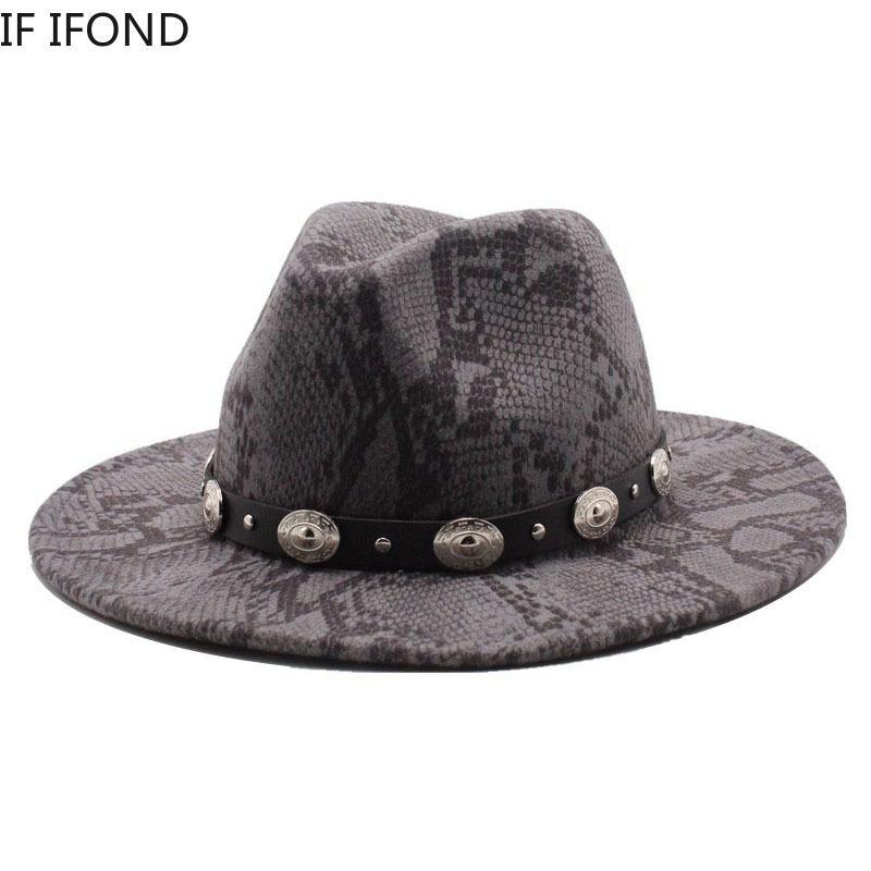 British Style Fedora Cappello Uomini Donne Lana Inverno Cappello di Feltro Cappelli in feltro Snakeskin Pattern Vintage Jazz Trilby Hat