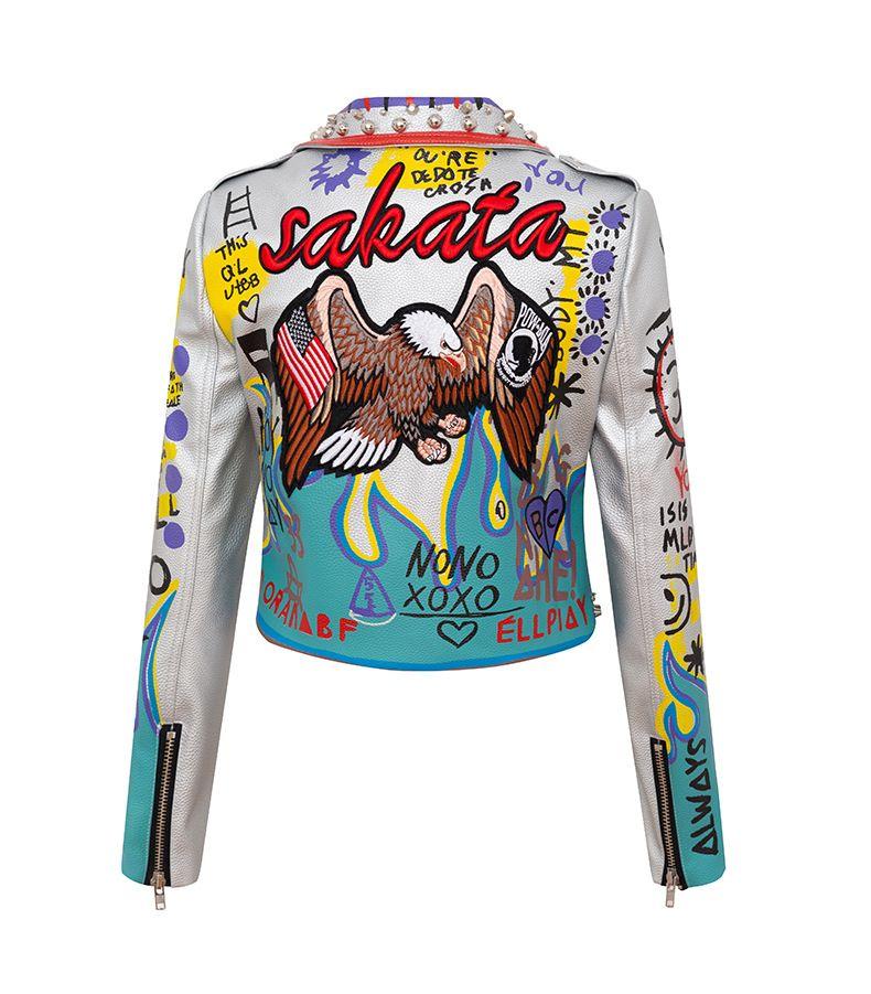 Kadın Ceketler 2021 Yeni Moda Marka Iş Gömlek Faux Deri Kısa Ceket Yeni Koleksiyon Grafiti Motosiklet Giyim Punk Giyim