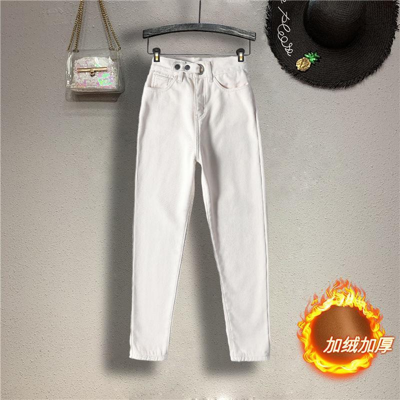 Jeans femininos Novo estilo estrangeiro pelúcia harlan desgaste inverno espessamento alta cintura fina calças retas versáteis