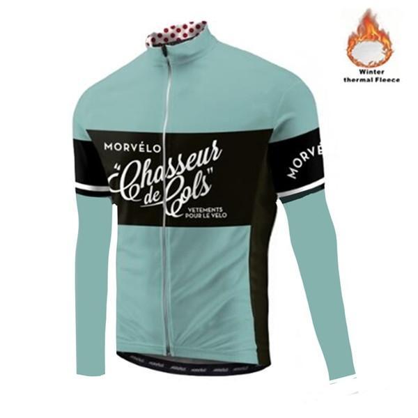 Morvelo Kış Termal Polar erkek Bisiklet Jersey Uzun Kollu Ropa Ciclismo Bisiklet Giyim Bisiklet Giyim Sıcak Maillot Ceket Q1205