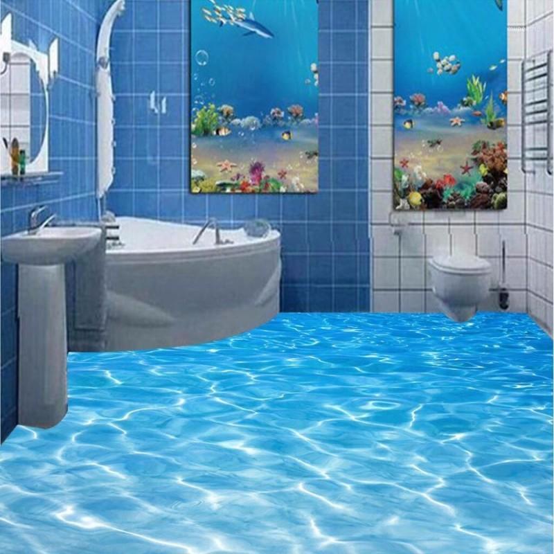 Modernes Badezimmer benutzerdefinierte 3D-Bodenweitbild Meerwasserkräuselungen tragen rutschfeste wasserdichte verdickte selbstklebende PVC-Wallpaper1