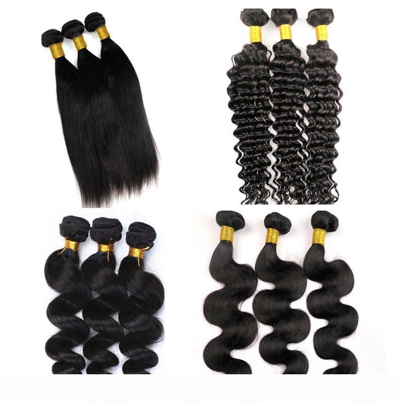Mink Brazillian Body Wave Bundles Virgin Human Hair Weaves Wefts 8-34inch Non trasformato peruviano Malesias indiano innombo estensioni dei capelli umani