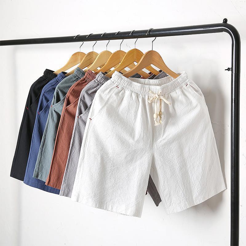 Casual Men's Beach 2020 Summer New Cotton Linen Breathable Drawstring Elastic Waist Pockets Sports Shorts Plus Size M-4XL1