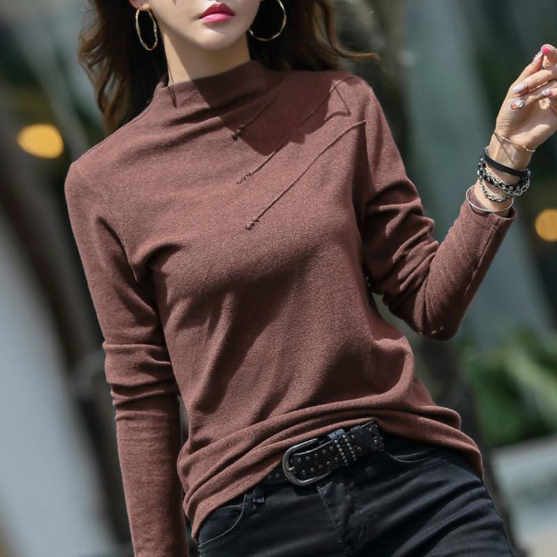 Korean Style Autumn Turtle Neck T Shirts Women 2020 Winter Thick Tshirt Female Long Sleeve T-Shirt Cotton Button Tee Shirt Femme A1112