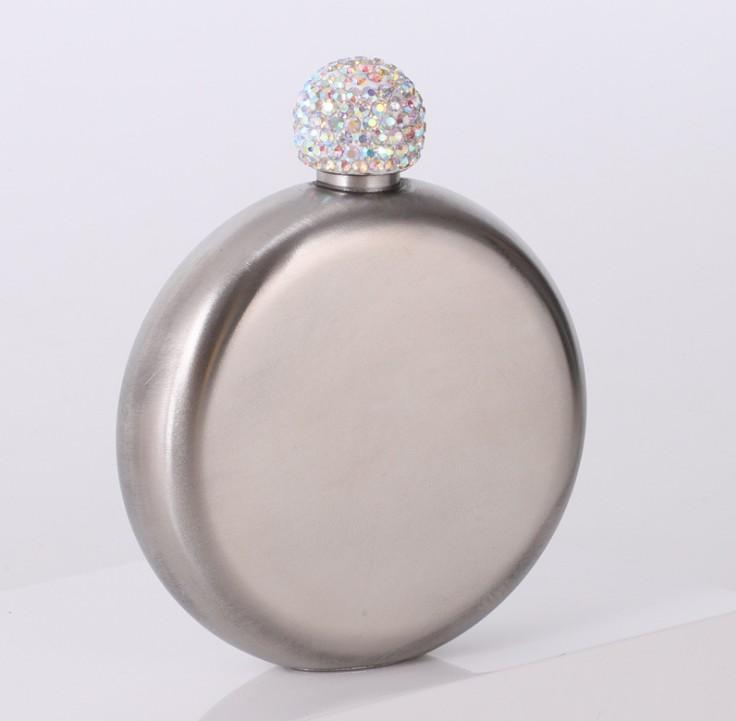 Portátil 304 Cálidas de diamantes de imitación de acero inoxidable de acero inoxidable Frasco de cadera redondo 5 oz Hombre redondo Hombre Bolsillo de bolsillo Botellas de vino de Whisky