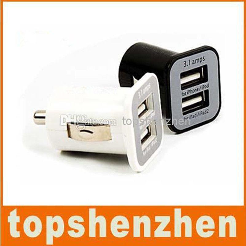 3.1A 자동차 충전기 듀얼 USB 포트 2 포트 3100mAh USB 자동차 충전기 아이폰 5 5S 5 7 삼성 S6 S7 가장자리 MP3 GPS 스피커