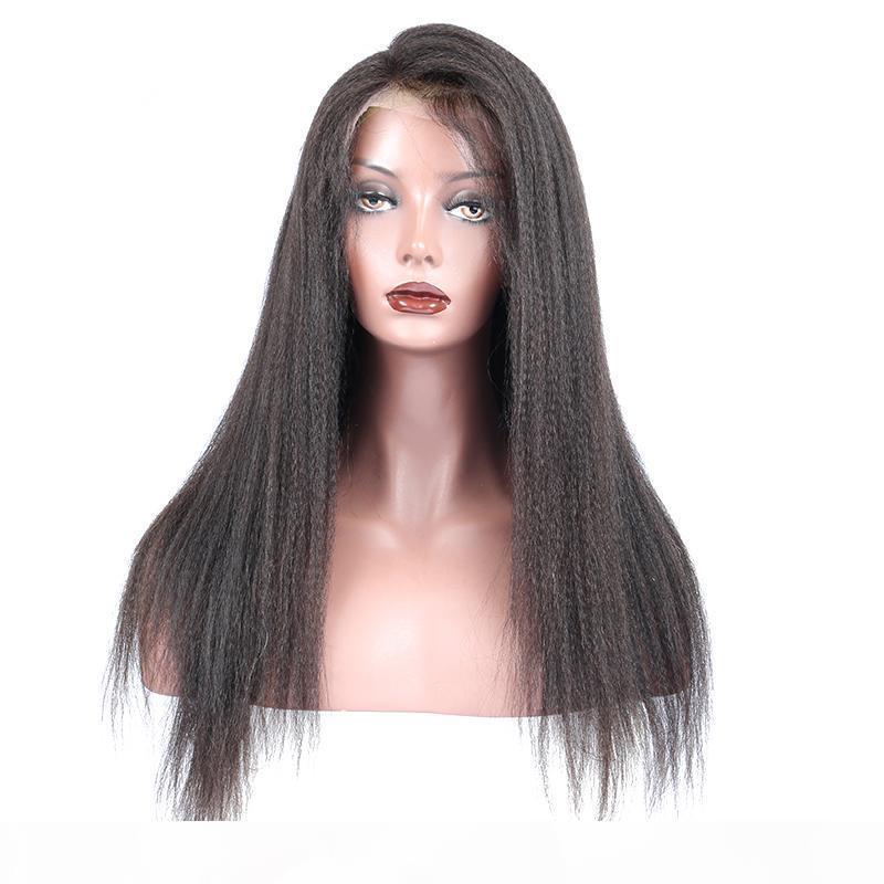 2018 100% Non trasformato Virgin Remy Human Hair Bangs Yaki Dritto Colore naturale Colore Top Piena Parrucca in pizzo per le donne