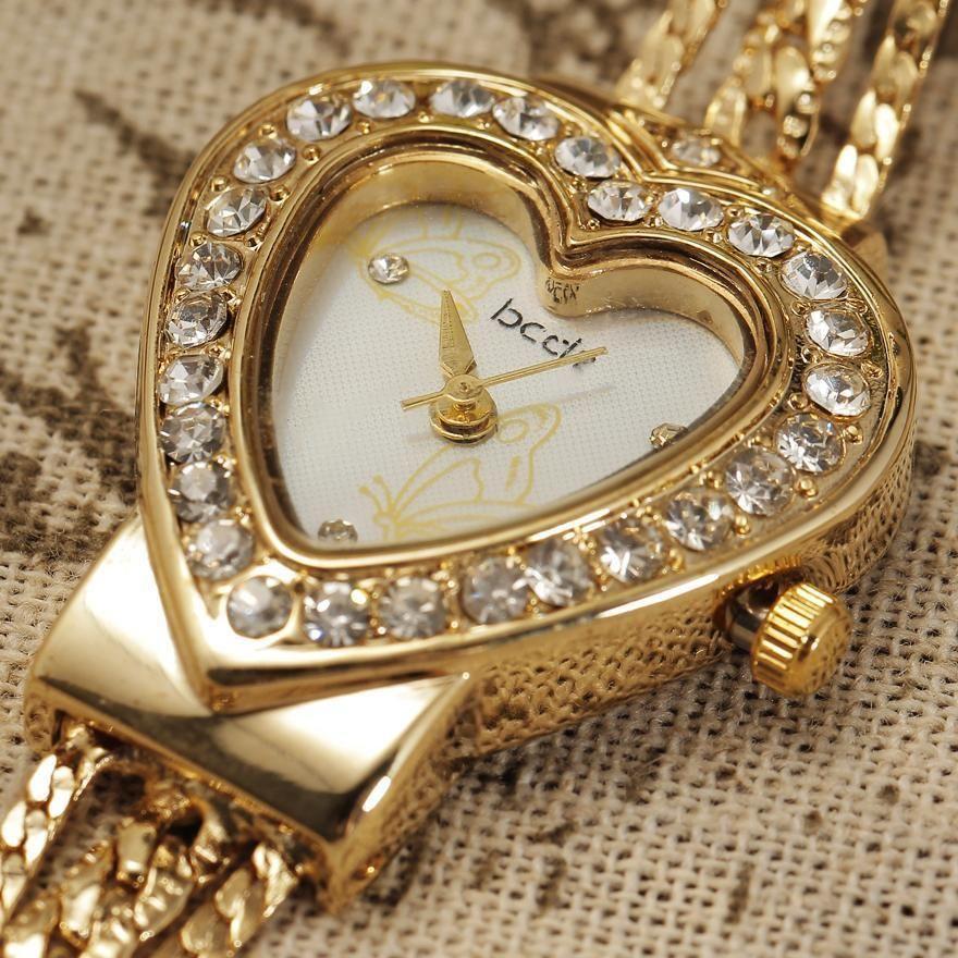 Nova Marca Mulheres Pérolas Pulseira Assista Exclusivo Design Forma de Coração Dial Moda Gold Ladies Dress Relógios Relogio Original J1205