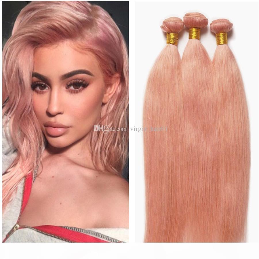 Paquetes de pelo rosado rosa oro cabello recto trama brasileña humano recto rosa extensiones de cabello 3pcs lot