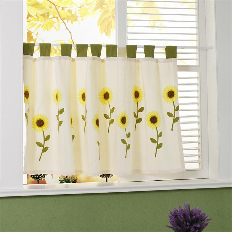 Rideau rideaux de style pastoral demi-rideaux rideaux de tournesol en coton en coton tube tube café court pour la porte de cabinet de cuisine