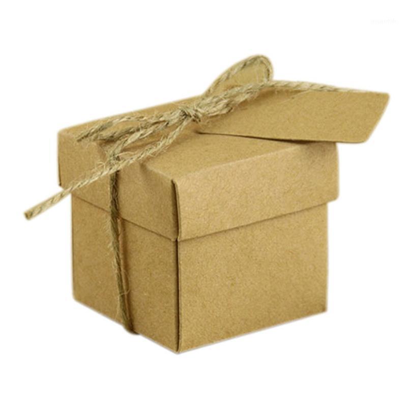 50x деревенский прямоугольник квадратный крафт свадебная вечеринка одолжение конфеты подарочная коробка Kraftpaper1