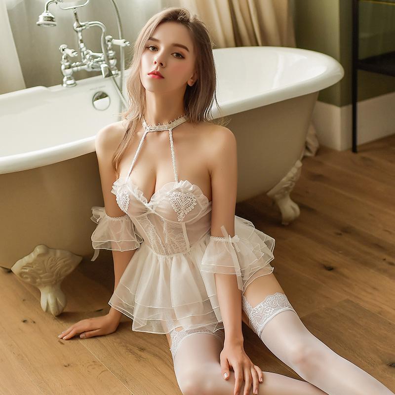 Ropa de dormir mujer sexy lencería mujer vestido de noche gasa tentación novia luna de miel camisón bordado ultra corto camisones