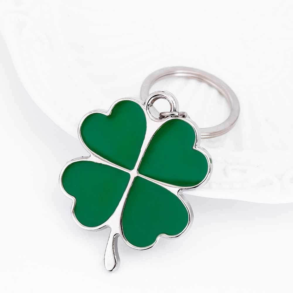 Creative Kisswife из нержавеющей высокого качества Зеленый брелок мода красивые четыре листа клевера сталь счастливый ключ цепь украшения