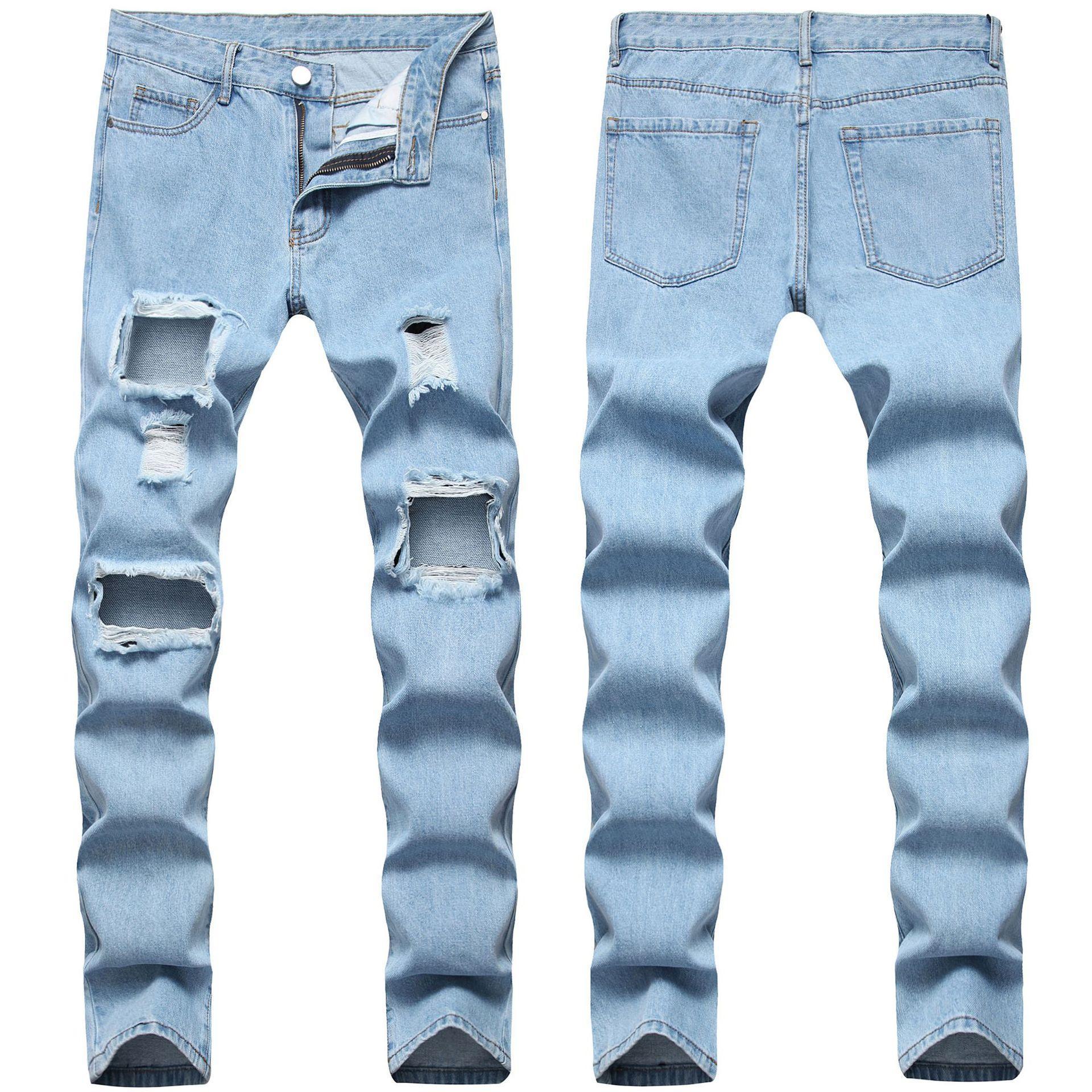 Nedensel Mens Jeans Erkekler Sıkıntılı Yırtık Kot Slim Fit Düz Denim Yıkanmış Yıkılan Delik Biker Kot Hip Hop Erkekler Streetwear 0608 #