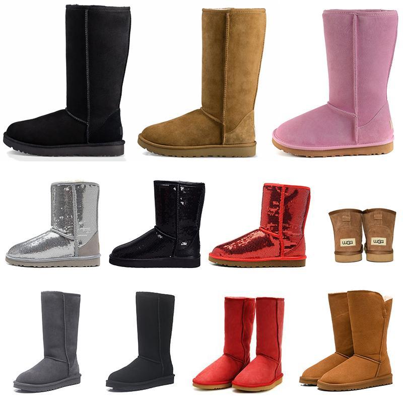 Nuevas botas de nieve clásicas para mujer, botas de piel hasta el muslo para invierno, castaño, negro, gris, rosa, chocolate, rojo, niña