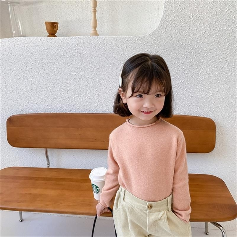 Autumn Baby Girls Color Color Color Punto Cuello redondo Suéteres de manga larga Todos Match Casual Base Showovers 201109