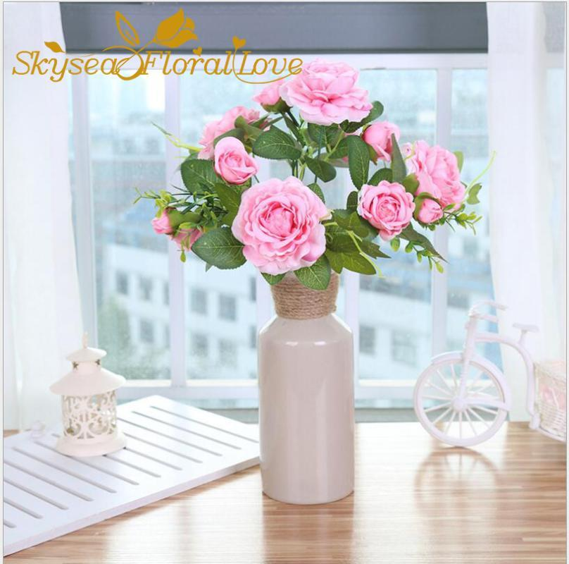 Artificial flowers rose wedding flowers colorful home office party wedding decoration DIY 13heads quality fake