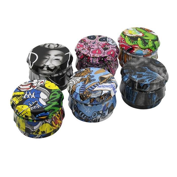 Impressão completa Herb Moedor Drum Forma 4 partes 63mm Tabaco Crusher Seco Smasher Colorido Acessórios para Fumar Moler