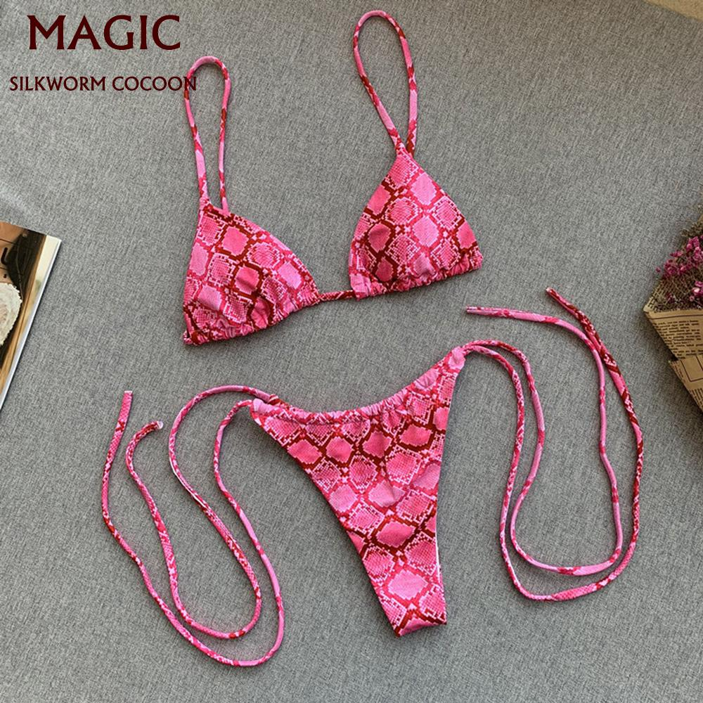 Donne Sexy Print Bandage Bikini Push-up Badmode brasiliano Beachwead Beachwear Doppio Batsuit Mujer Effen Maillot de Bain