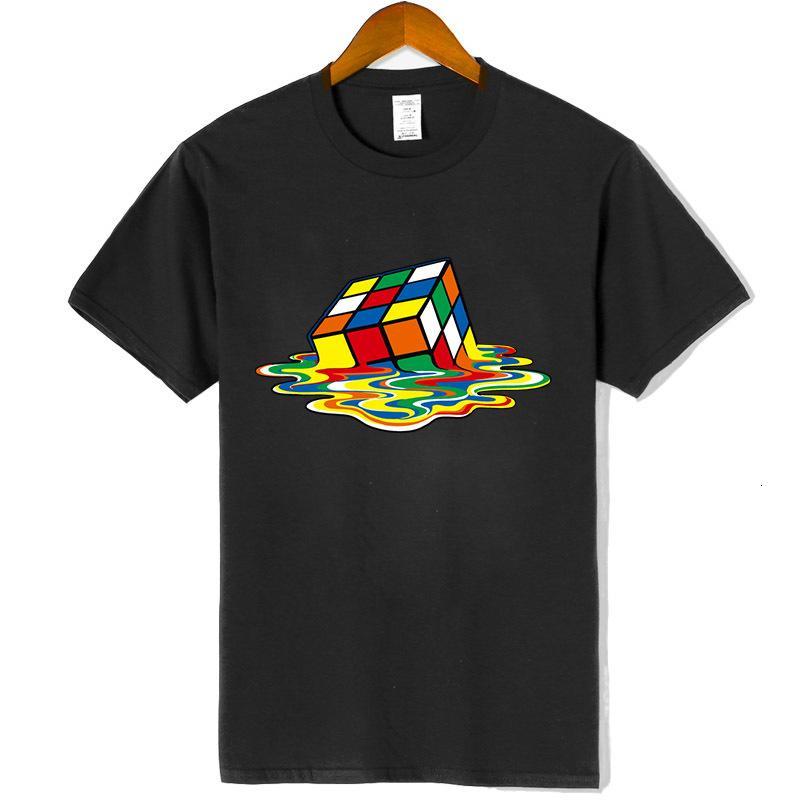Новые мужские высококачественные100% хлопок с короткими рукавами Волшебная квадратная печать O-шеи повседневная хип-хоп футболка для мужчин