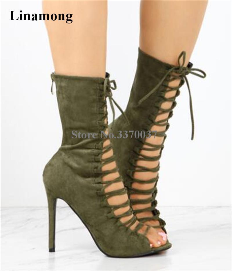 Сапоги моды женские открытые пальцы замшевые кожи на шнурок короткий гладиатор вырезать армию зеленый высокий каблук лодыжки