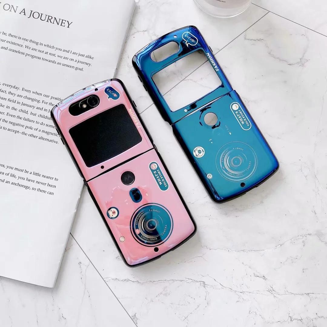 Мода дизайн камеры Bling мягкий чехол для TPU для Motorola Moto Razr 5G 2020 глянцевый синий розовый 2 в 1 сгиб бизнес мобильный телефон обратно