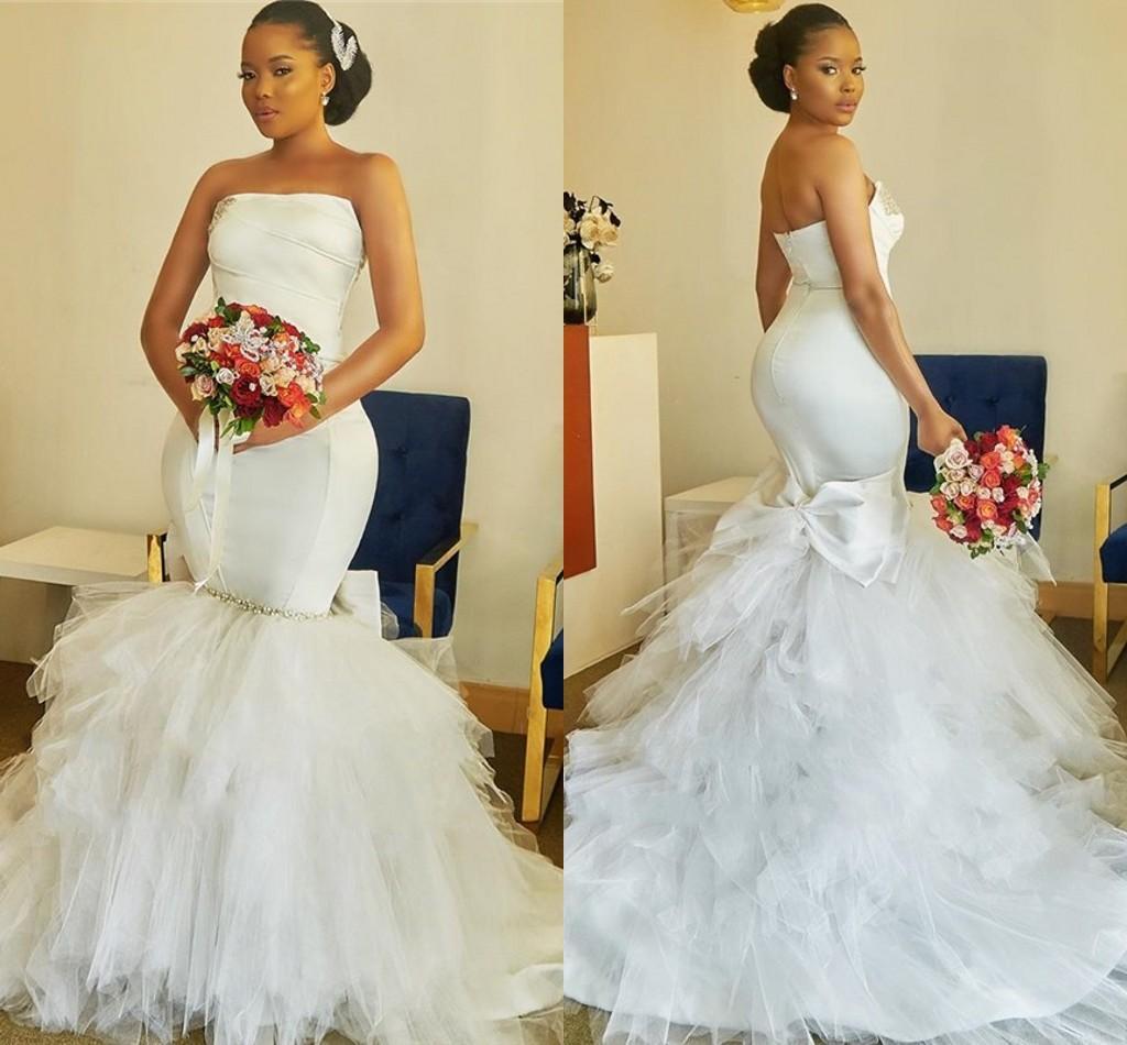 2021 Modern African Wedding Dress Mermaid Style Strapless Ruffles Tulle Skirt Crystal Big Bow Satin Bridal Dress Plus Size Women Party