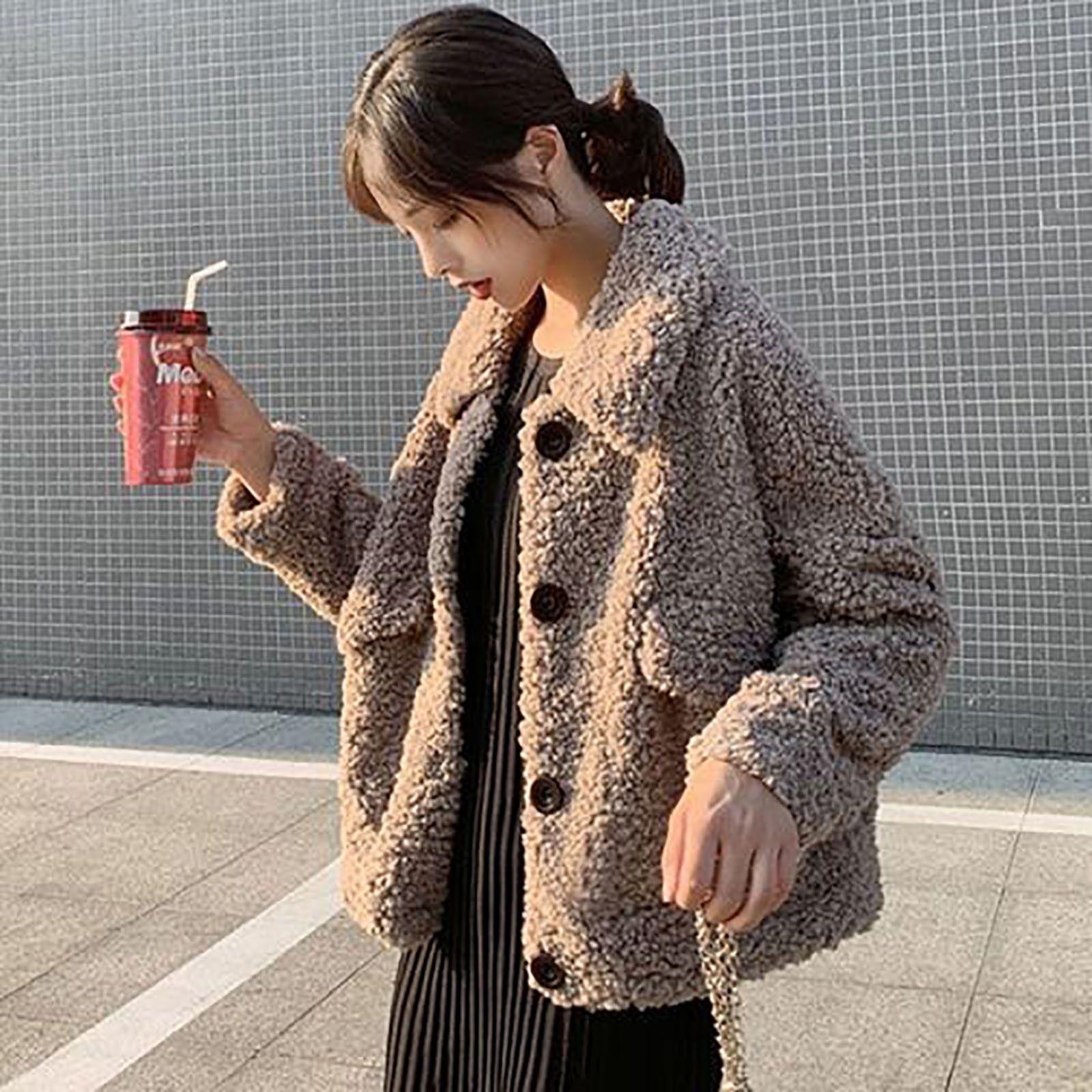 Damen Winter Mode Langarm Solide Farben Revers Lose Warm Plüsch Teddy Faux Pelzmäntel Mantel Plus Größe Chaqueta Mujer # G3