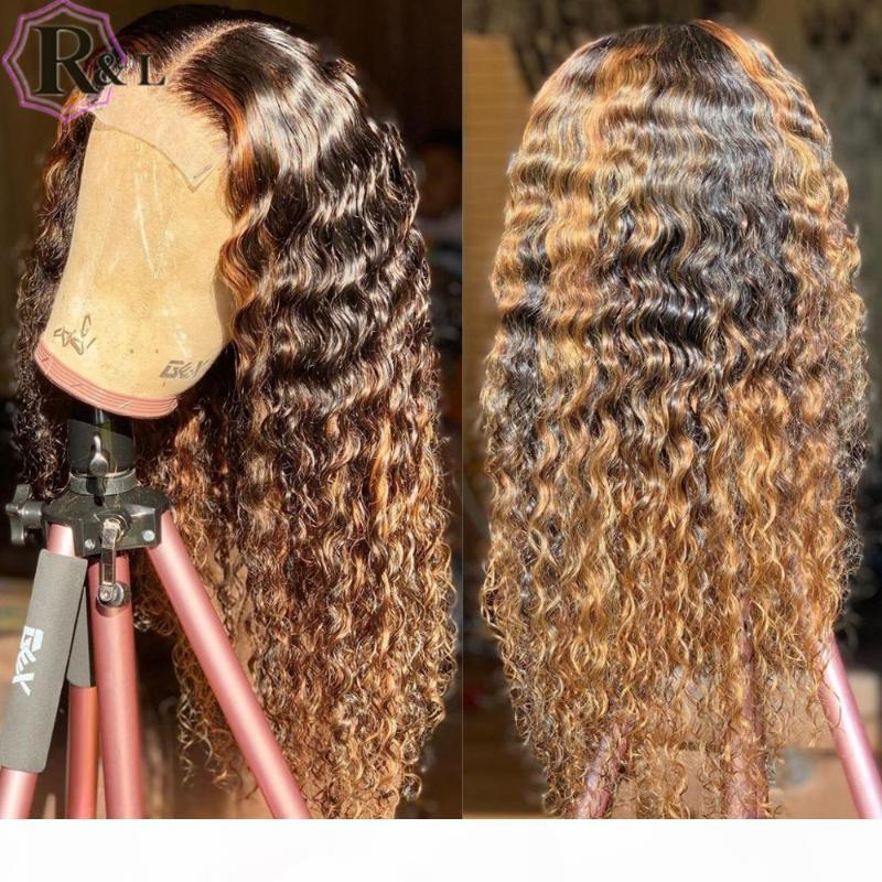 Rulinda Highlight Ombre вьющиеся кружева передние человеческие волосы парики T-части Бразильские ременные волосы кружевные парики 180% плотность с ребенком