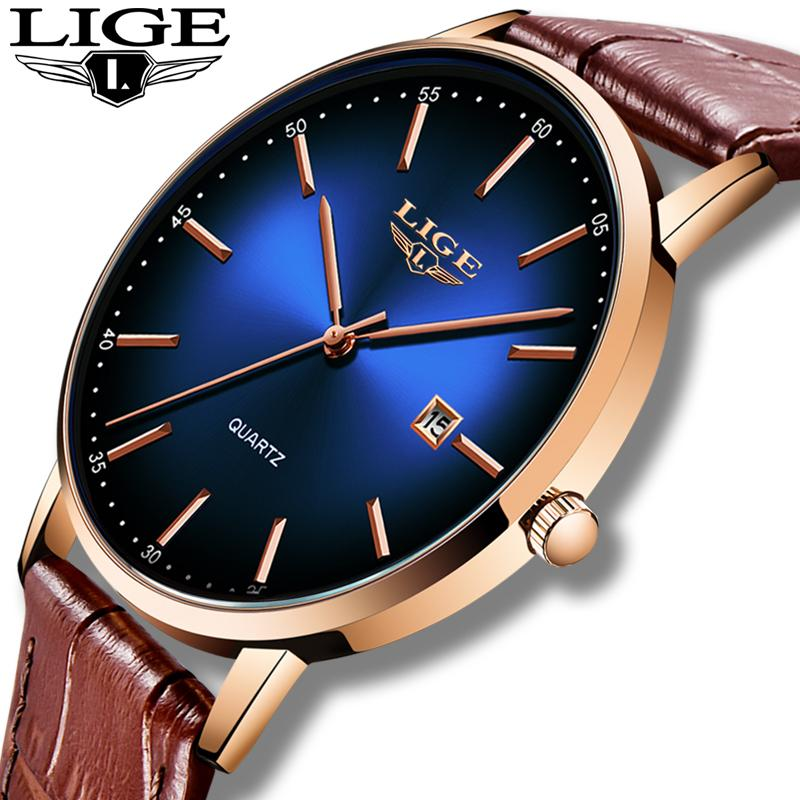 LIGE 2020 Fashion Casual Mens Watches Top Brand Luxury Leather Gold Clock Male Sport Wristwatch Waterproof Quartz Watch For MenQ0108