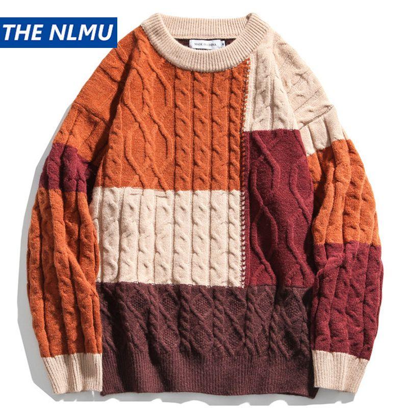 Bloco de cor de inverno patchwork de malha suéteres streetwear homens mulheres hip hop casual harajuku pulôver malhas topes outwear wy371
