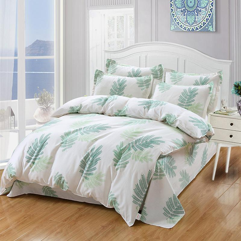 Yeşil Yaprakları Yatak Setleri 4/3 adet Rahat Yatak Levhalar Yorgan Yorgan Kapak İkiz Tam Kraliçe King Bedclothes En Çok Satan