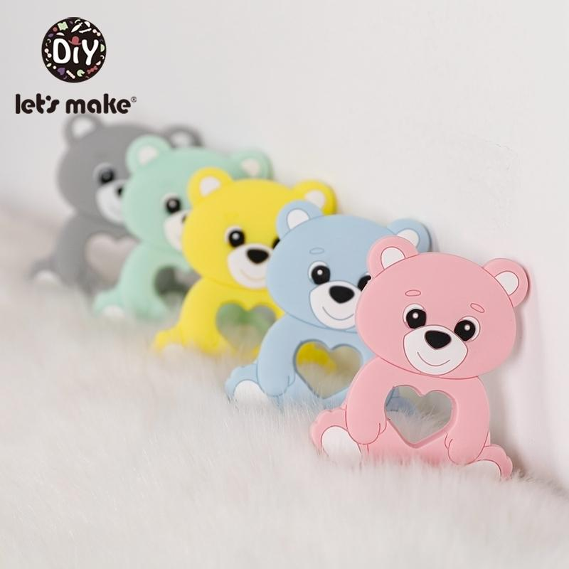 Let'S Make 10Pc Baby Teether Silicone Baby Teether Necklace Bpa Free Food Grade Silicone Bear Cartoon Bead Stroller Baby Teether 201123
