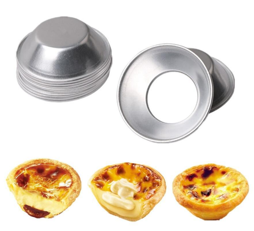 실버 계란 타트 몰드 알루미늄 합금 베이킹 금형 반복 계란 베이킹 팬 미니 홈 메이드 파이 치즈 베이킹 쿠키 푸딩 금형 DHD3755