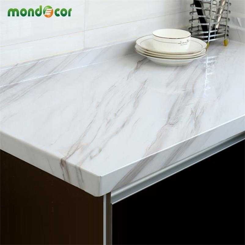 Glossy Marble Contact Paper DIY PVC Vinyl Kitchen Cabinet Counter Top Bathroom Self adhesive Wallpaper Home Decor Wall Stickers 201201