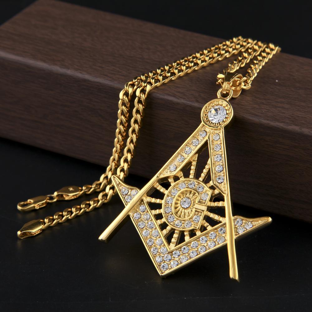 18 كيلو الذهب والفضة مطلي الهيب هوب مثلج من قلادة g قلادة رمز الماسونية الأولية البوصلة المجانية ميسون الرجال الكوبي سلسلة قلادة