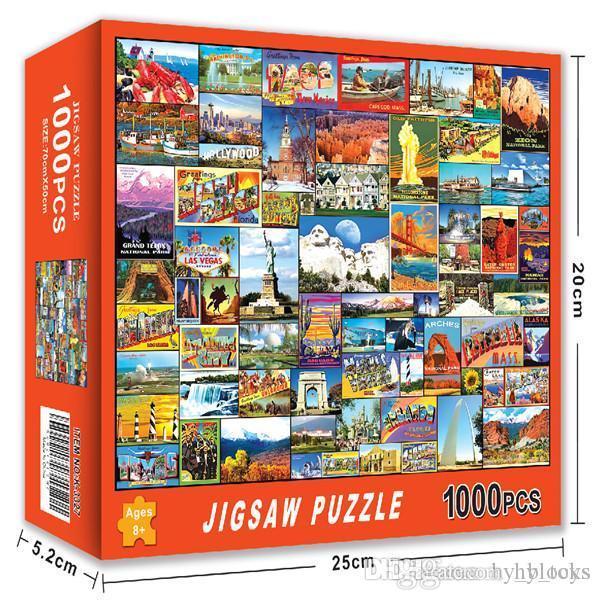 Yapboz Puzzle Montaj Resim Manzara Kağıt Dekompresyon Yetişkin Çocuklar Için Yapboz Oyuncak Çocuk DIY Eğitim Hediye