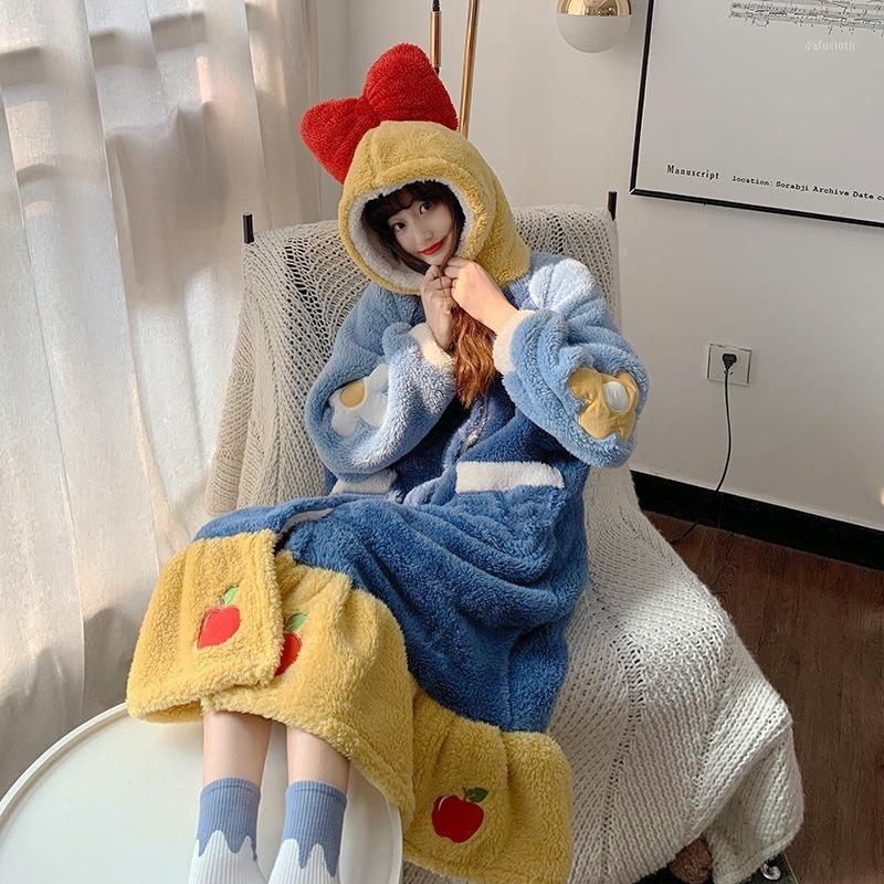Camisón de las mujeres de invierno Linda Linda Sweet Princess Nightdress con encollada Bowknot Peluche Ropa de dormir de la felpa Ropa de dormir de la Navidad Sleepwear1