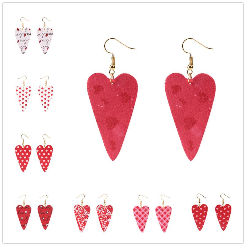Heißer verkauf mädchen ohrringe streifen valentinstag leder ohrringe mädchen pailletten wasserdrop ohrring mode ohrringe party geschenk dhl frei