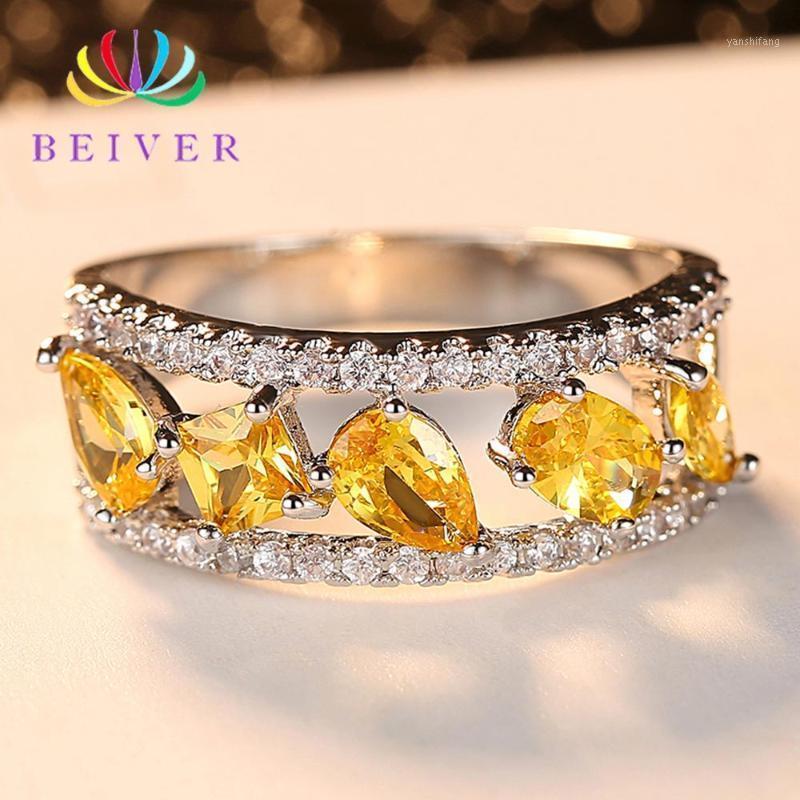 Beiver moda amarelo zirconia cúbica anéis de casamento para mulheres gota de água branco cor de ouro jóias 2020 novas chegadas1