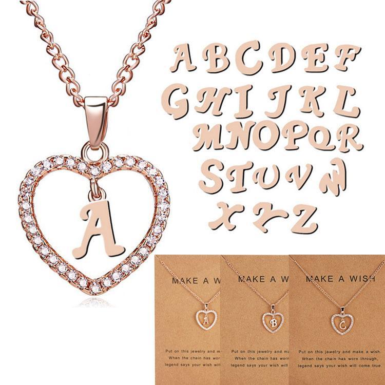 A-Z الإنجليزية الأبجدية إلكتروني سلسلة 26 حرف قلادة الجوف الخوخ القلب شخصية الرجعية الانجليزية رسالة قلادة الأزياء والمجوهرات بالجملة