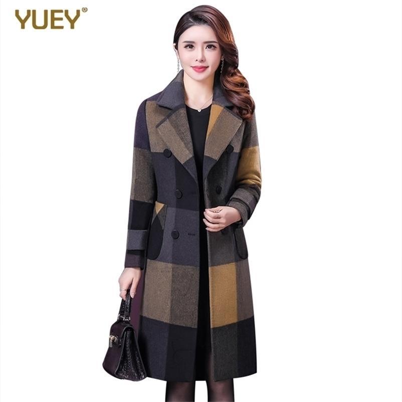 Novas mulheres xadrez casaco v Neck Uma forma padrão de lã de padrão para o inverno outono joelho comprimento magro outwear bonito mais tamanho 201218